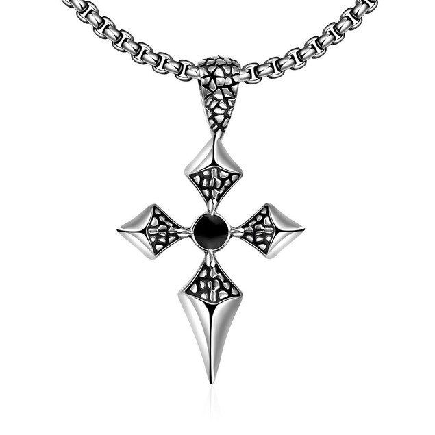 Alpha Steel Thin Stainless Steel Cross Necklace