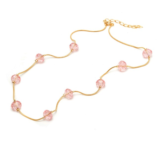 Gold and Pink Beads Necklace
