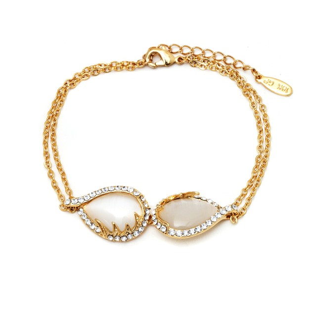 18K Gold and Crystal Double Teardrop Bracelet