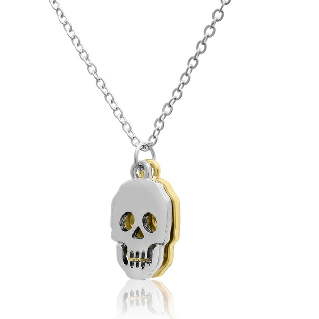 Two Tone Skull Necklace, 16 Inches
