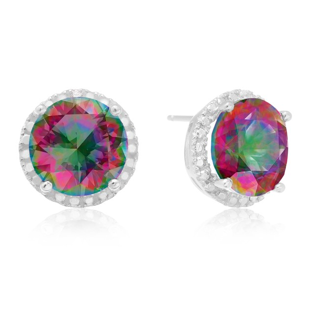 7 Ct Mystic Topaz Halo Stud Earrings in Sterling Silver