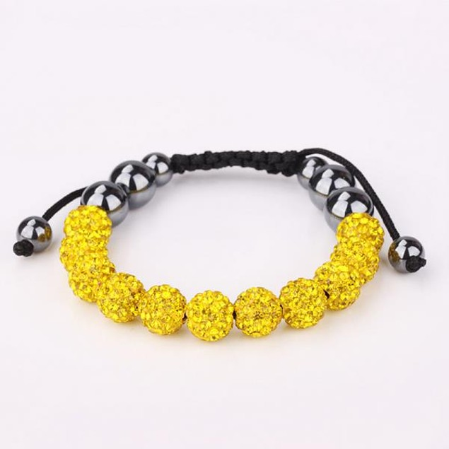 Disco Ball Eleven Beads Austrian Crystal Bracelet - Vibrant Yellow Citrine
