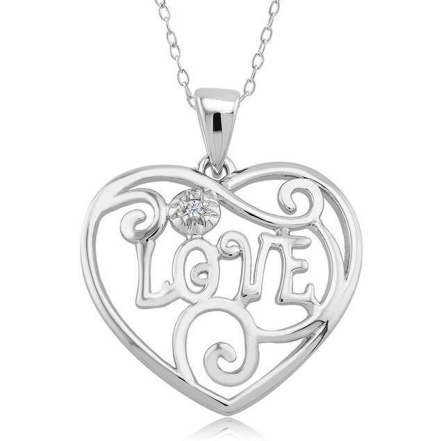 .10 Ct Diamond Accent Heart Necklace  - Elegant Love