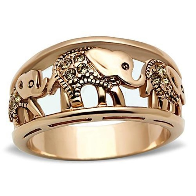 Rose Gold Plated Stainless Steel Elephant Caravan Ring