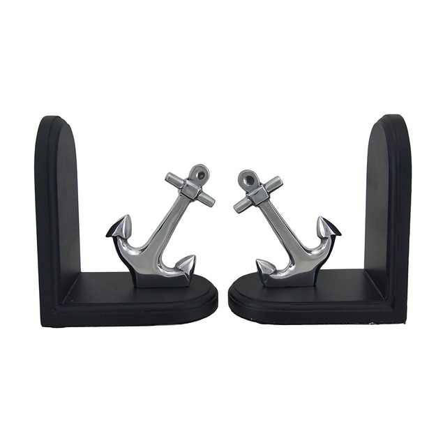 Polished Aluminum And Wood Nautical Anchor Decorative Bookends