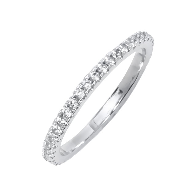 White Gold Plated CZ Round-Cut Eternity Ring