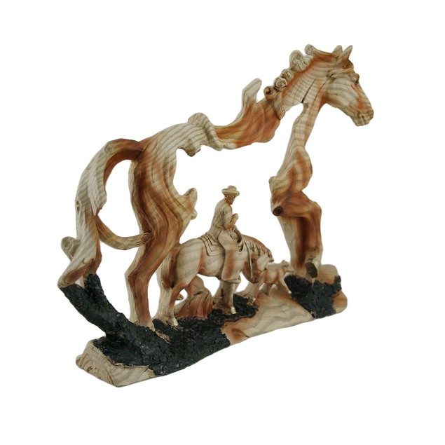 Horse And Cowboy Faux Wood Carving Statue Statues