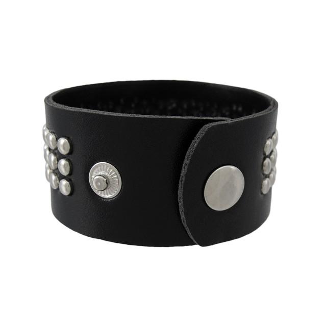 Black Vinyl Wristband With Small Chrome Studs Womens Cuff Bracelets