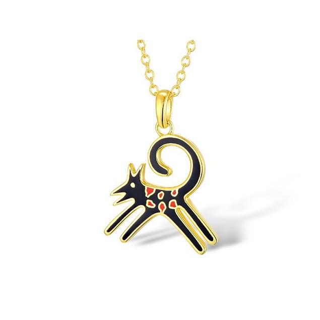 Laurel Burch Felicity Cat Black Cloisonne Pendant Womens Pendant Necklaces