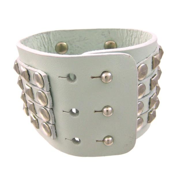 Gray Leather 4 Row Chrome Pyramid Stud Wristband Mens Leather Bracelets