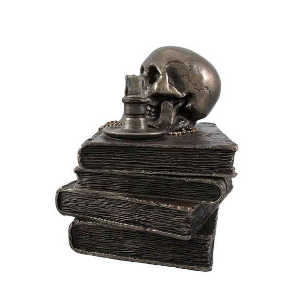 Bronze Wizard`S Study Books And Skull Trinket Decorative Boxes
