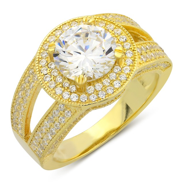 Gold Plated Double Row Micro Setting Ring
