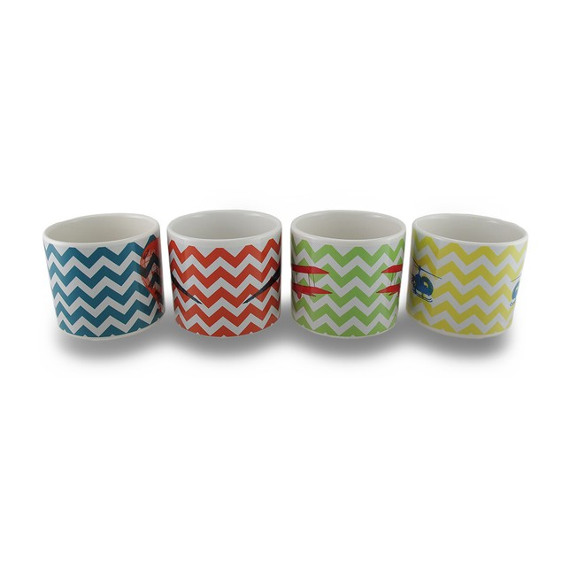 Set / 4 Flights Of Fantasy Colorful Chevron Novelty Coffee Mugs