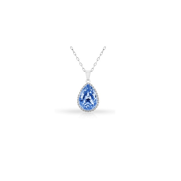 18KT White Gold Plated Halo Blue Topaz Pear Pendant in Sterling Silver