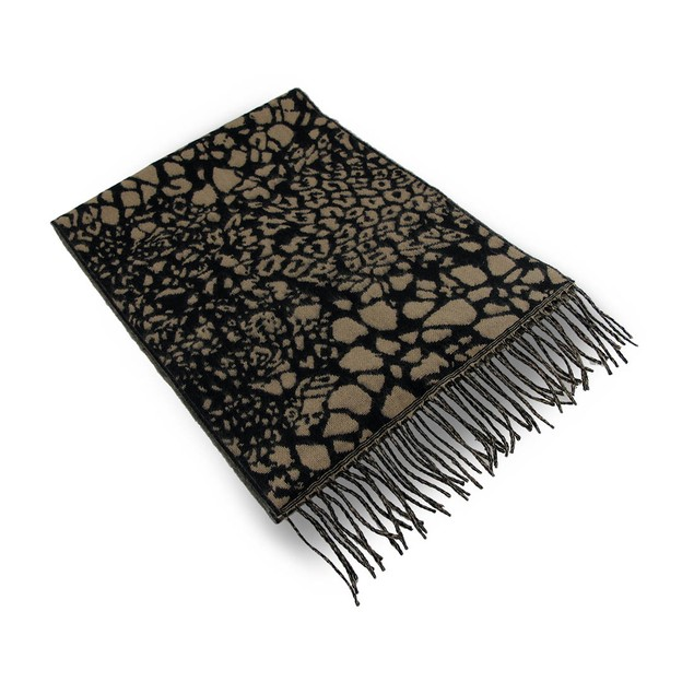 100% Cashmere Tan / Black Leopard Print Fringed Womens Cold Weather Scarves