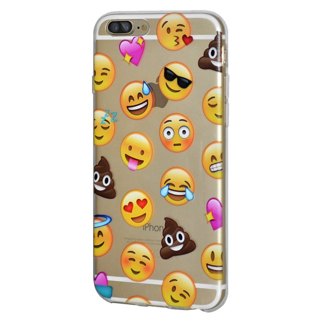 Soft Gel Graphic Emoji TPU Skin Case for iPhone 7 Plus - Mixed Poop Emotion