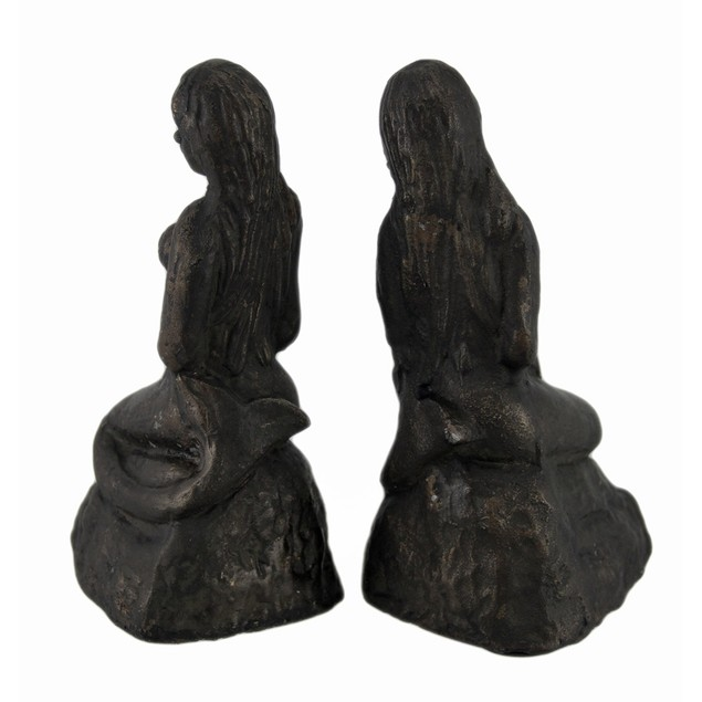 Bronze Finish Lonely Mermaid Cast Iron Bookends Decorative Bookends