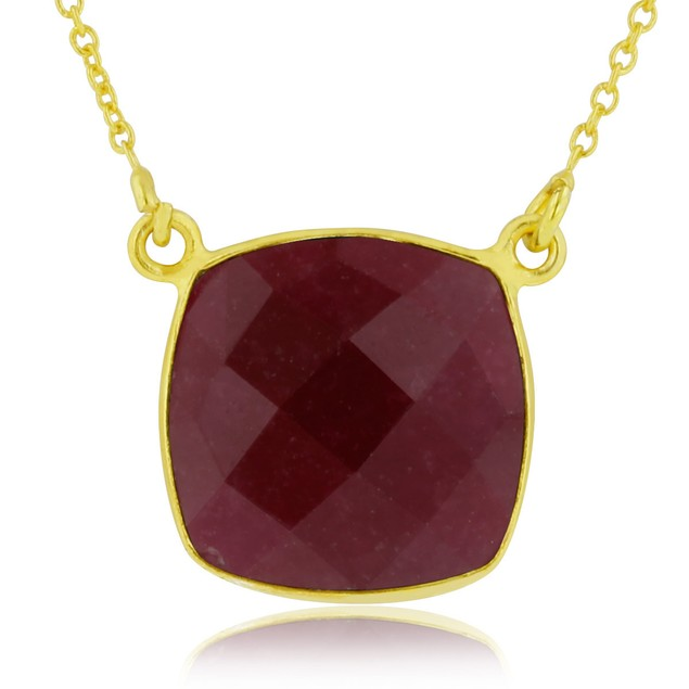 12 Carat Cushion Cut Ruby Pendant