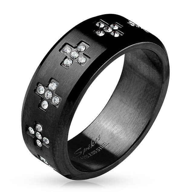 CZ Set Crosses Around Black IP Over Stainless Steel Ring