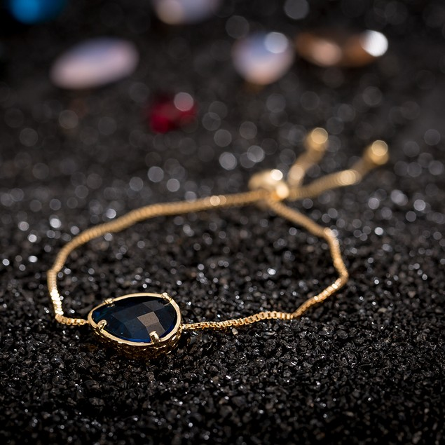 Gold Plated Oval Vivid Sapphire Gem Bracelet