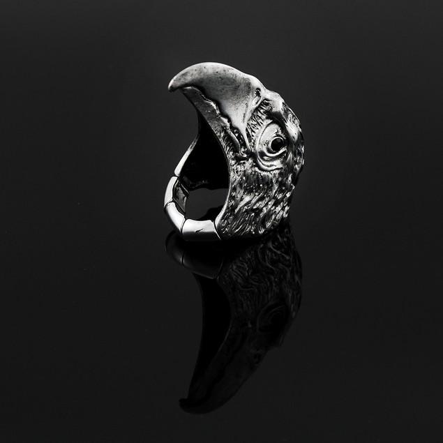 Eagle Head Stretch Ring With Black Rhinestone Eyes Rings