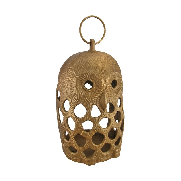 Golden Filigree Owl Cast Aluminum Decorative Decorative Candle Lanterns