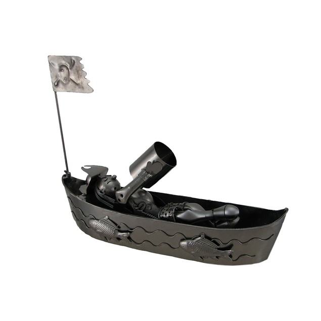 Pirate On A Boat Recycled Steel Wine Bottle Holder Wine Bottle Holders