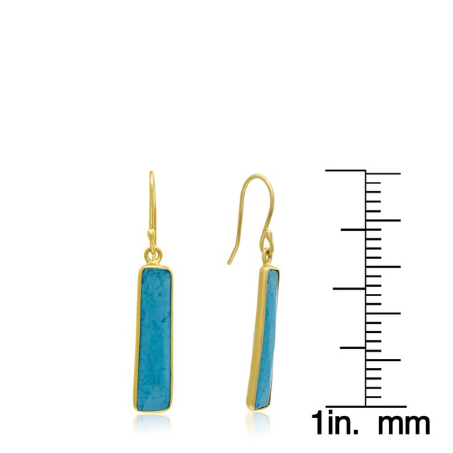Gold Tone Sterling Silver 9 Carat Turquoise Bar Earrings
