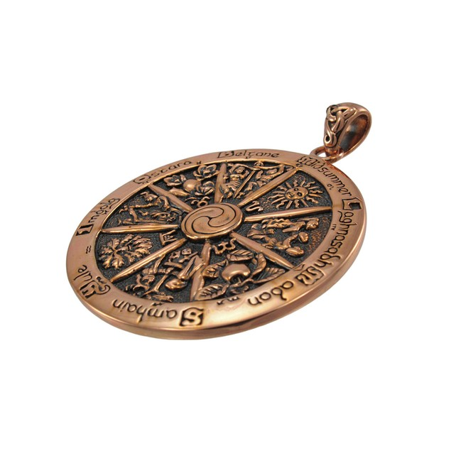 Copper Wheel Of The Year Pendant Pagan Wicca Individual Pendants