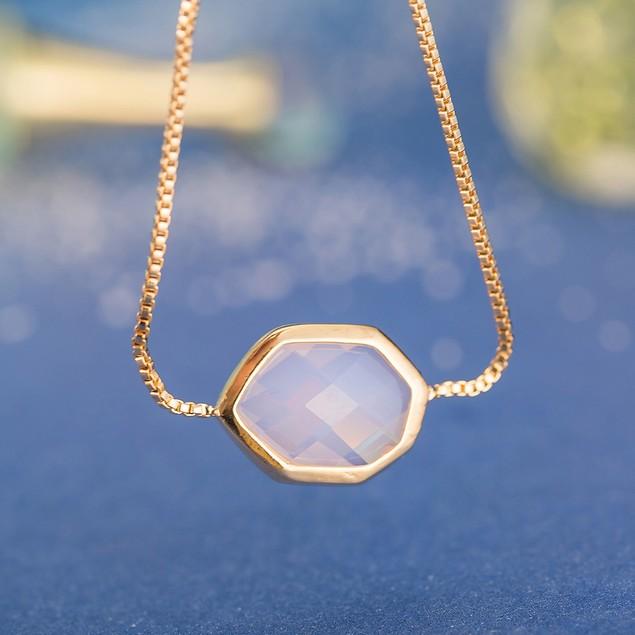 Gold Plated Hectagon Shaped Coral Gem Bracelet