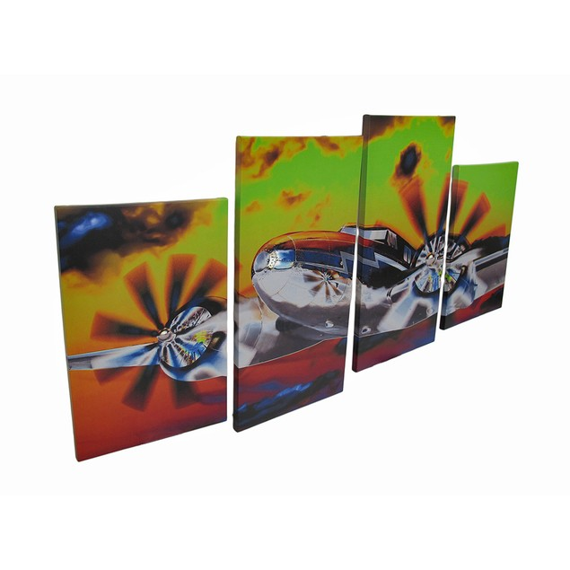 Colorful 4 Piece Flying High Airplane In The Sky Prints
