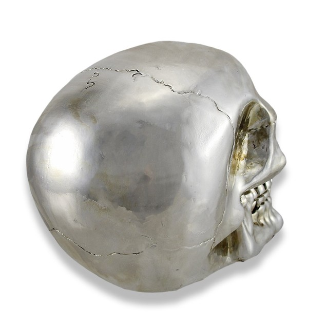 Chrome Silver Finish Human Head Skull Statue Head Sculptures