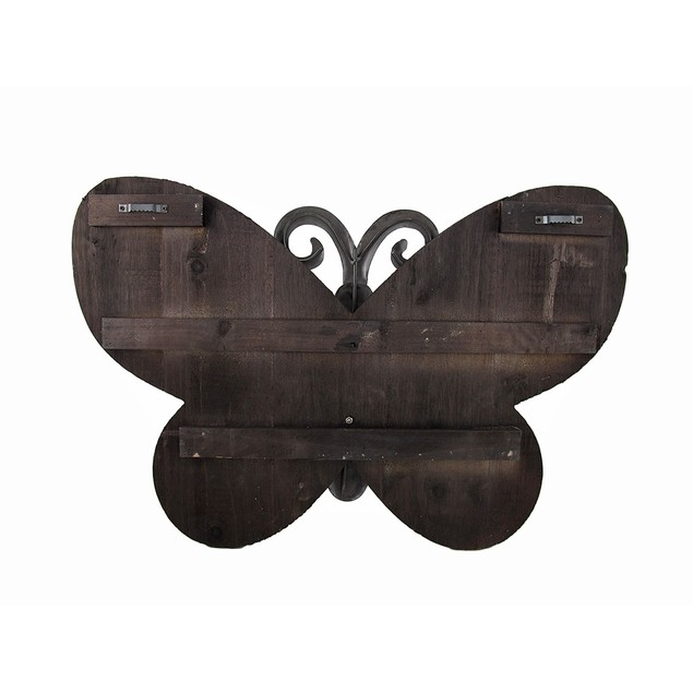 Oversized Round Wing Butterfly Wood And Embossed Wall Sculptures
