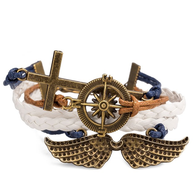 Cross Anchor Emblem Bracelet