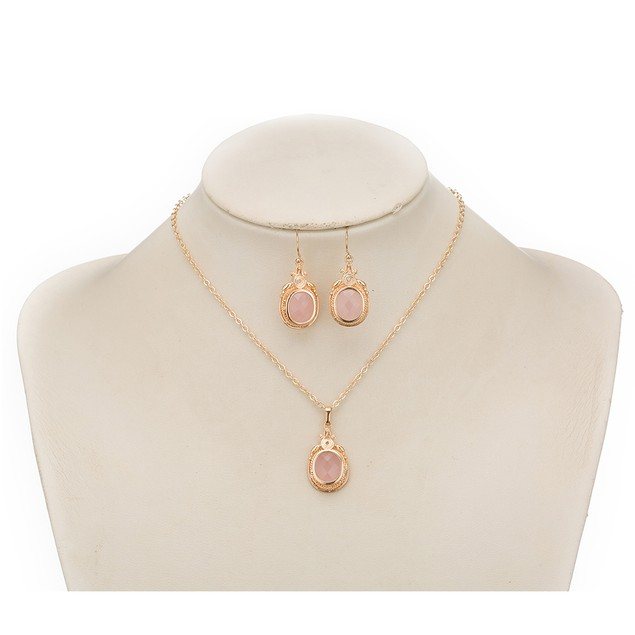 Gold Plated New York Inspired Coral Necklace & Earrings Set
