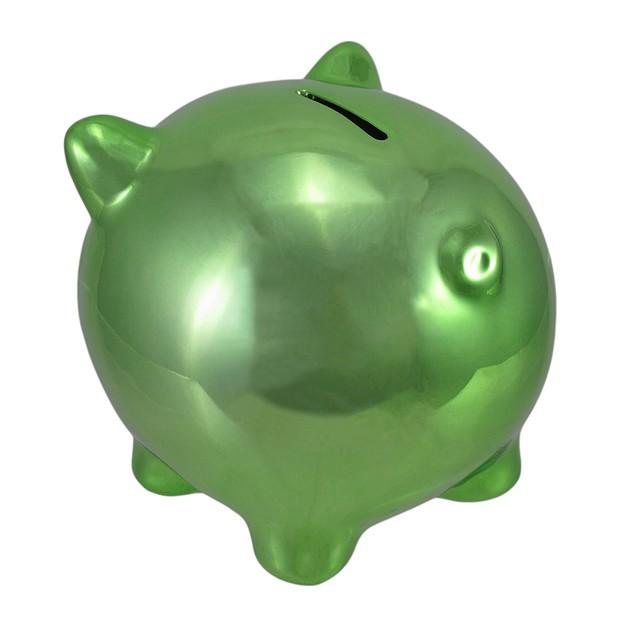 Metallic Green Ceramic Piggy Bank 5 1/2 In. Toy Banks