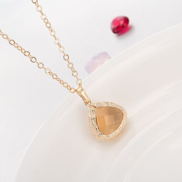 Gold Plated Modern Fire Stone Necklace & Earrings Set