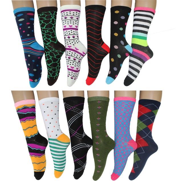 12-Pairs: Frenchic Women's Printed Crew Socks