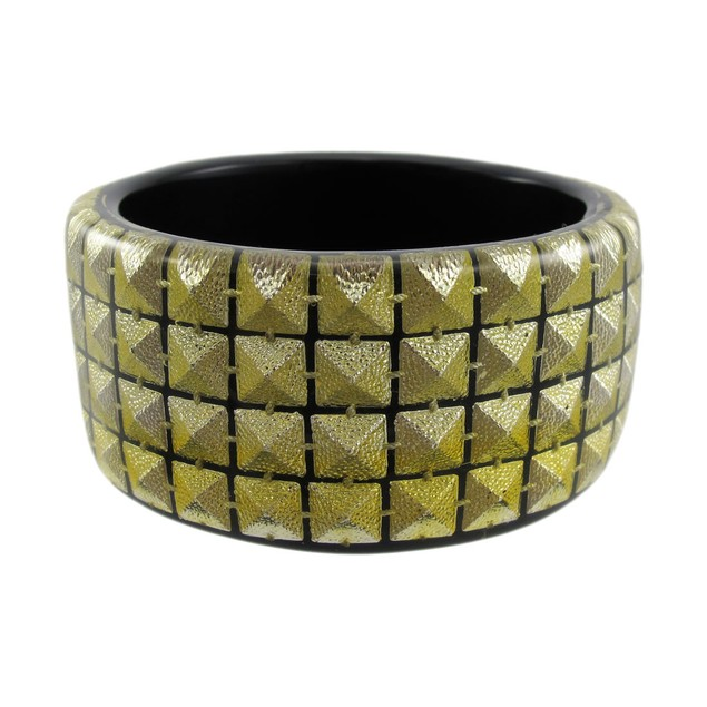 1 1/2 Inch Wide Goldtone Pyramid Studded Lucite Womens Bangle Bracelets