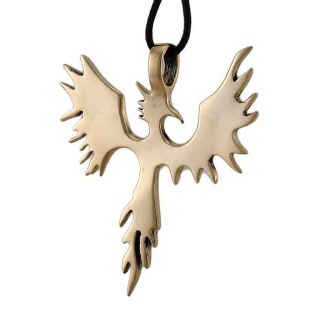 Large Polished Goldtone Phoenix Pendant W/ Cord Mens Individual Pendants