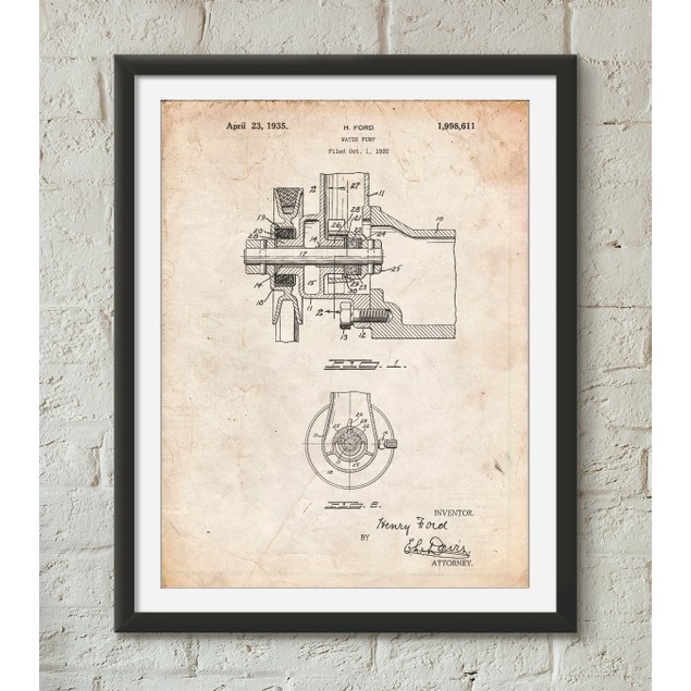 Water Pump Patent Poster