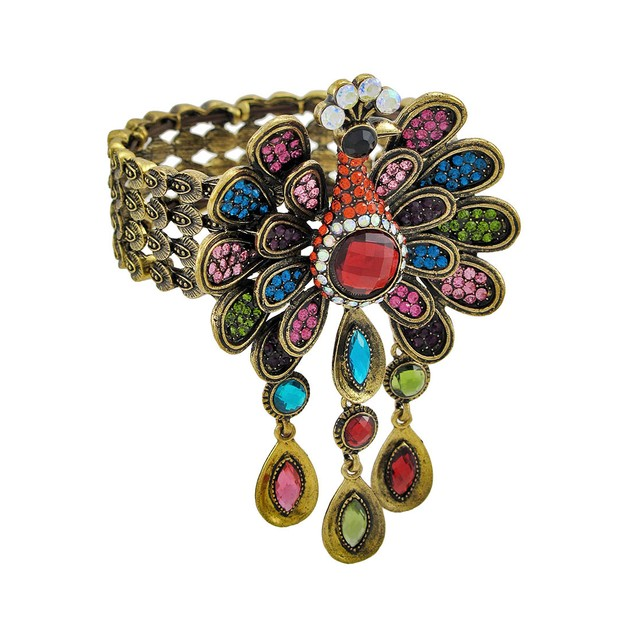Colorful Rhinestone Peacock Bronze Stretch Bangle Womens Bangle Bracelets