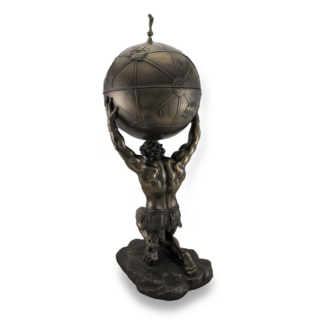 Atlas Holding Up Celestial Sphere Bronzed Decorative Boxes