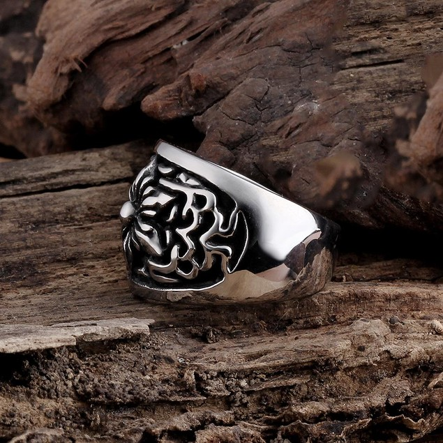 Thick Rose Petal Stainless Steel Ring