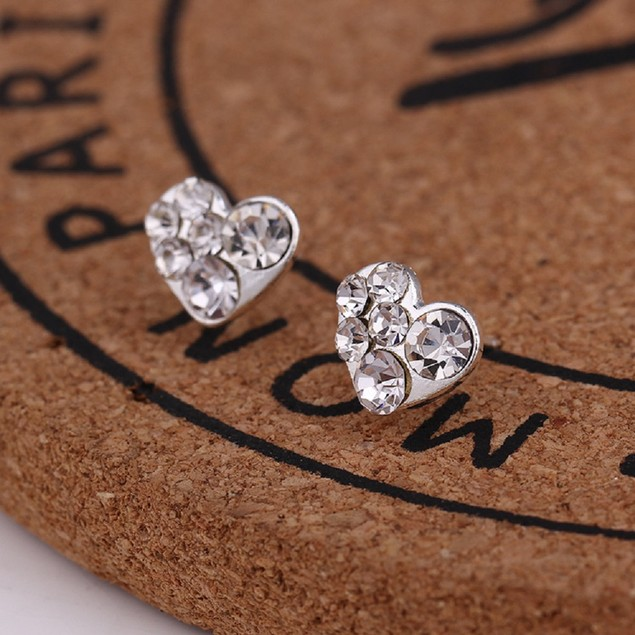 Silver Tone Heart Shaped Earrings