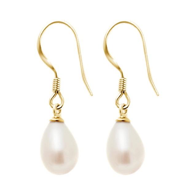Fishhook Pearl Earrings in Gold Plated Brass
