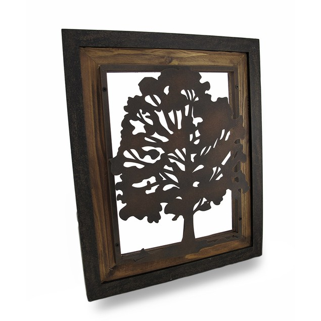 Metal Rustic Finish Tree Silhouette On Wood Frame Wall Sculptures