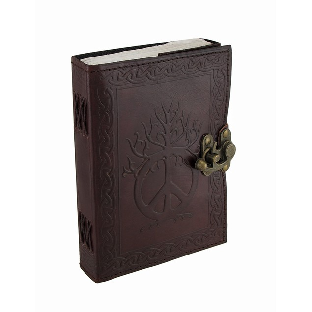 Embossed Leather Peace Sign And Celtic Knotwork Art Sketchbooks And