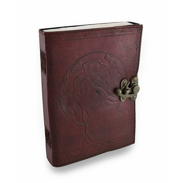 Embossed Leather Howling Wolf Journal 120 Leaf Art Sketchbooks And