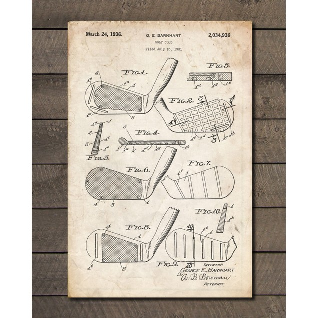 Gold Club Heads Patent Print - 3 Colors